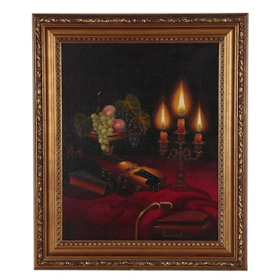 Late 20th Century Still Life Oil Painting