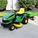 John Deere Hydrostatic Gas Lawn Tractor, LA135 with Dump Trailer, 8Y