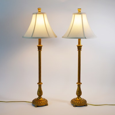Berman Mottled Gilt Composite Buffet Lamps, Pair