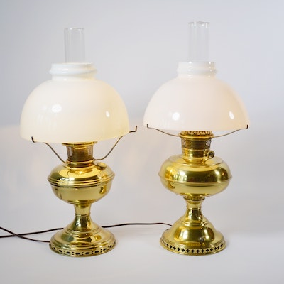 Two Electric Brass Converted Oil Lamps with Glass Domes, Vintage