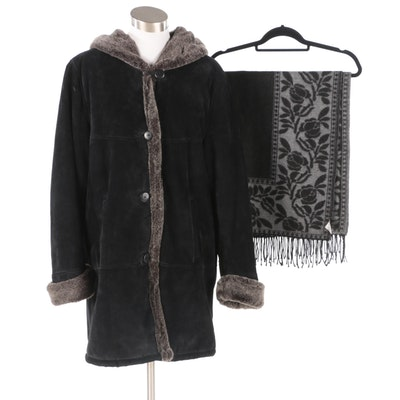 Dennis Basso Black Suede Faux Fur Coat and Reversible Italian Knit Fringed Shawl