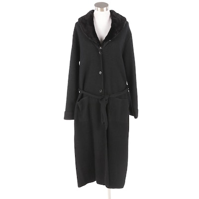 Jessica Holbrook Black Wool Sweater Coat with Removable Faux Fur Collar