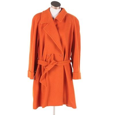 Liz Claiborne Collection Burnt Orange Wool and Camel Hair Belted Coat, Vintage