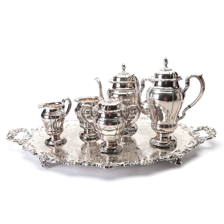 E. G Webster & Son Silver Plate Coffee and Tea Service, Mid-Century