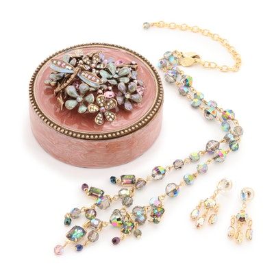Rhinestone and Enamel Trinket Box, Necklace, and Earrings