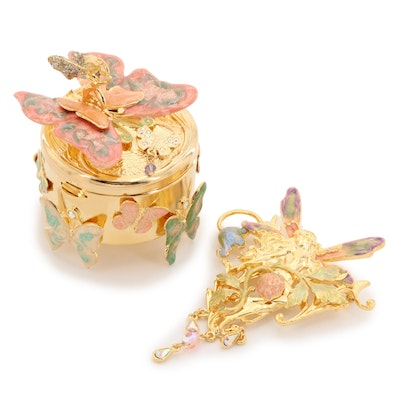 Rhinestone and Enamel Trinket Box With Fairy Brooch