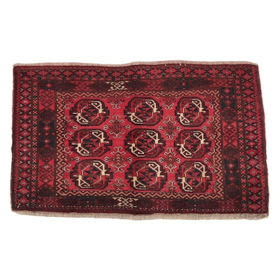 Hand-Knotted Afghan Bokhara Wool Accent Rug
