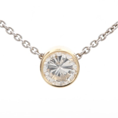14K Yellow Gold Diamond Pendant on 14K White Gold Chain
