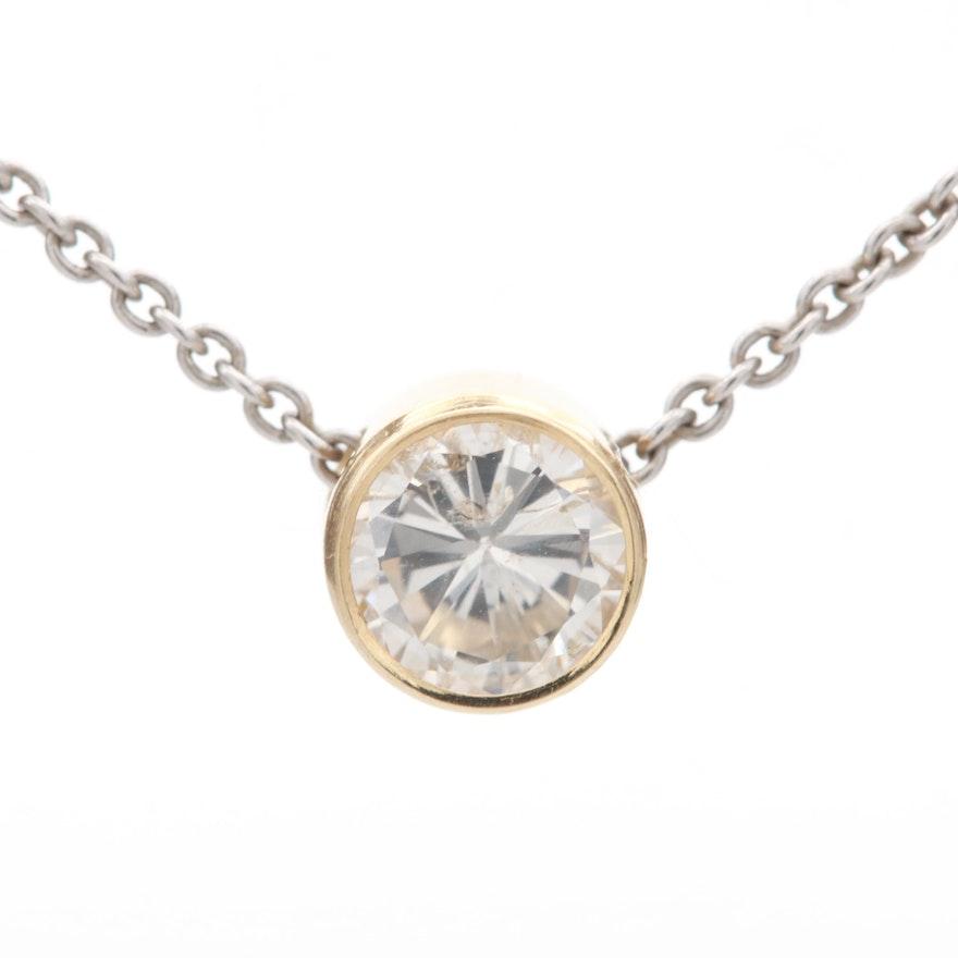 14K Yellow Gold Diamond Pendant on 14K White Gold Chain