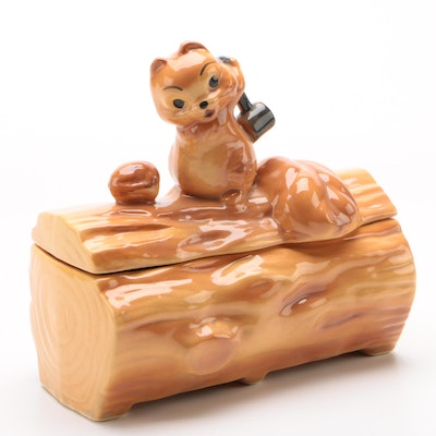 Squirrel on Log Ceramic Cookie Jar Attributed to Brush Pottery, Mid-Century