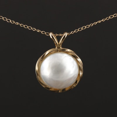 14K Yellow Gold Cultured Mabe Pearl Pendant Necklace