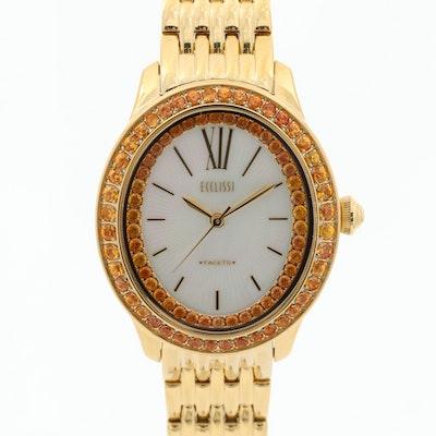 Ecclissi Facets Gold Tone and Orange Sapphire Quartz Wristwatch