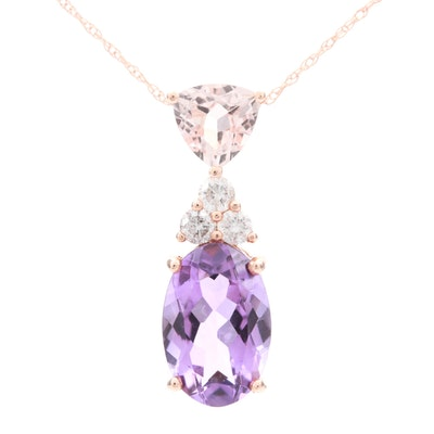 14K Rose Gold Diamond, Amethyst and Morganite Pendant Necklace