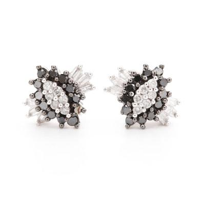 10K White Gold Black Diamond and Diamond Stud Earrings