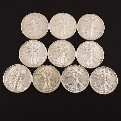 Ten Walking Liberty Silver Half Dollars with Dates Ranging from 1942 to 1947