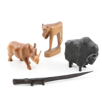 East African Wooden Animal Sculptures