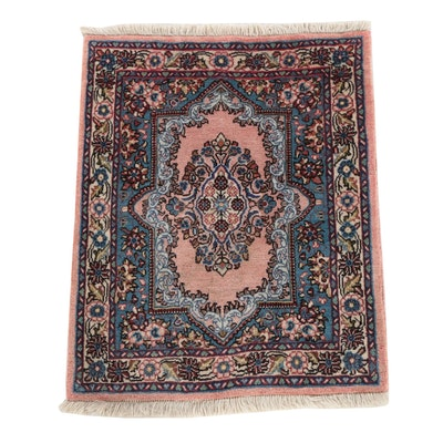 Hand-Knotted Persian Kerman Wool Accent Rug