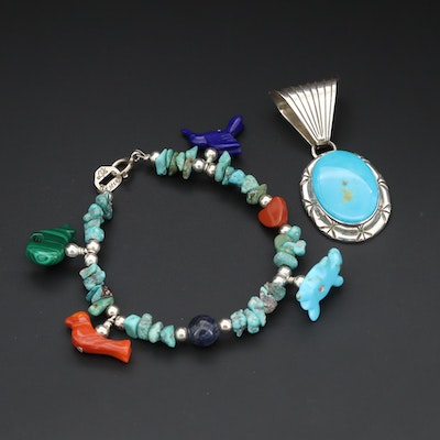 Southwestern Style Sterling Silver Turquoise Pendant and Gemstone Bracelet