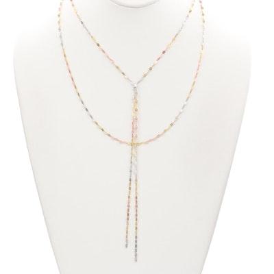 14K Tri-Color Multi Strand Necklace