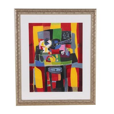 """Marcel Mouly Color Lithograph """"De Guiridon Rouge"""""""
