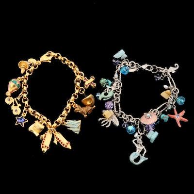 Rhinestone, Turquoise, and Enamel Charm Bracelets