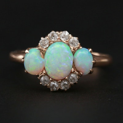 Victorian 10K Rose Gold Opal and Diamond Ring