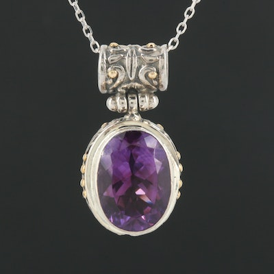 18K White Gold and Sterling Amethyst Pendant on a 14K Chain
