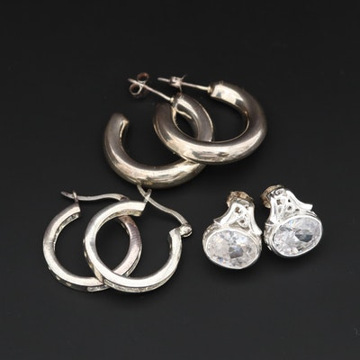 Assorted Sterling Silver Cubic Zirconia Earrings
