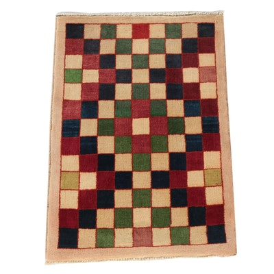 Hand-Knotted Afghan Gabbeh Style Wool Accent Rug