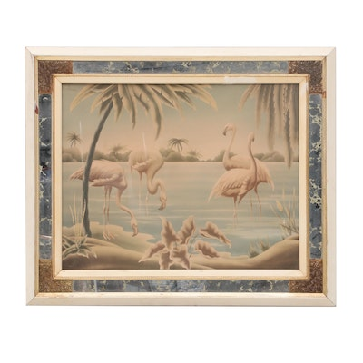Turner Manufacturing Co. Offset Lithograph after Airbrush Flamingo Painting