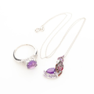Sterling Silver Amethyst, Garnet, and Rhodolite Ring and Pendant Necklace