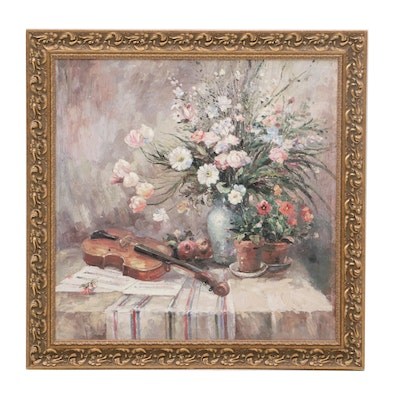 Still Life with Flowers and Violin Offset Lithograph
