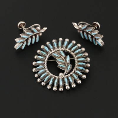Vintage Southwestern Style Turquoise Needlepoint Brooch and Earring Set