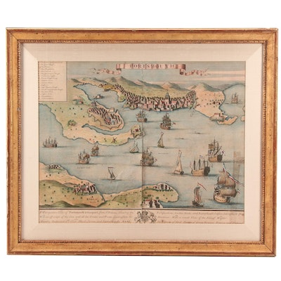 18th Century Hand-colored Engraved Pictorial Map of Portsmouth