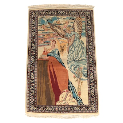 Hand-Knotted Persian Wool Area Rug with Religious Scene