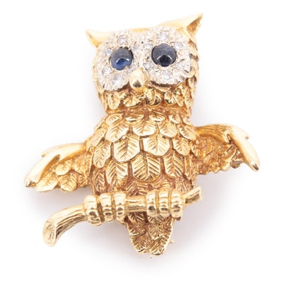 Vintage 18K Yellow Gold Sapphire and Diamond Owl Pin