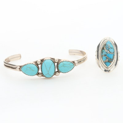 Sterling Silver Composite Turquoise Ring and Sterling Silver Bracelet
