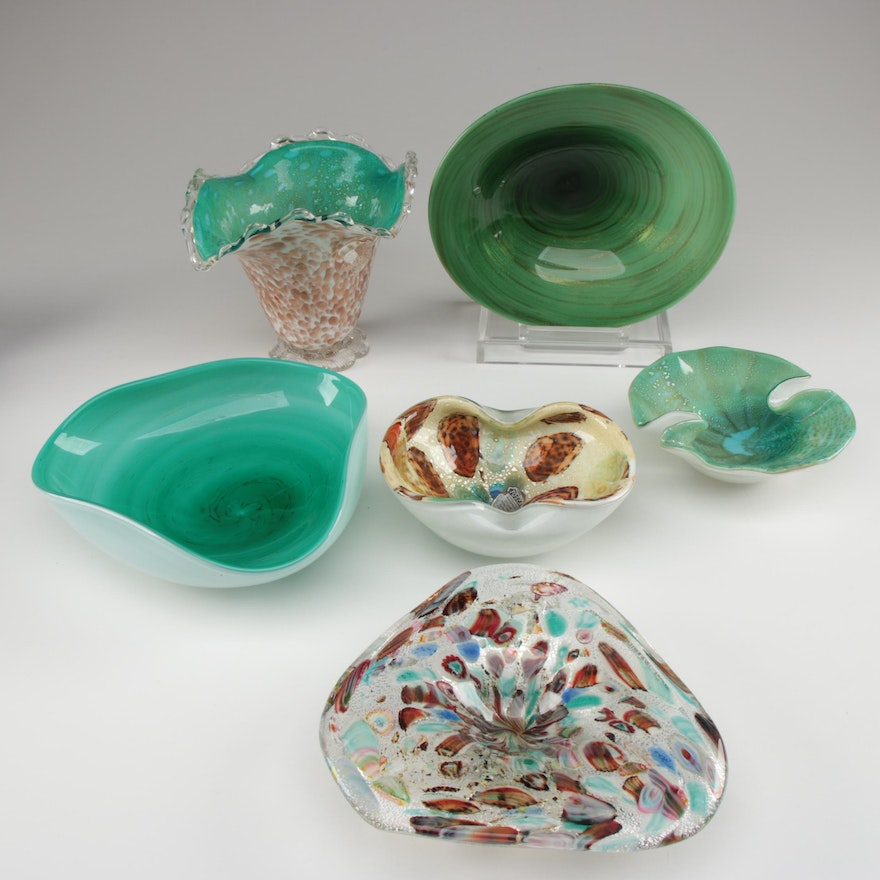 Murano and Toscany Venetian Glass Vase and Bowls, Mid-Century