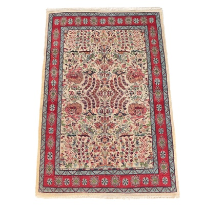 Hand-Knotted Indo-Persian Garden Wool Area Rug