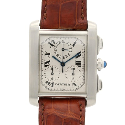 Cartier Tank Française Stainless Steel Chronoflex Wristwatch