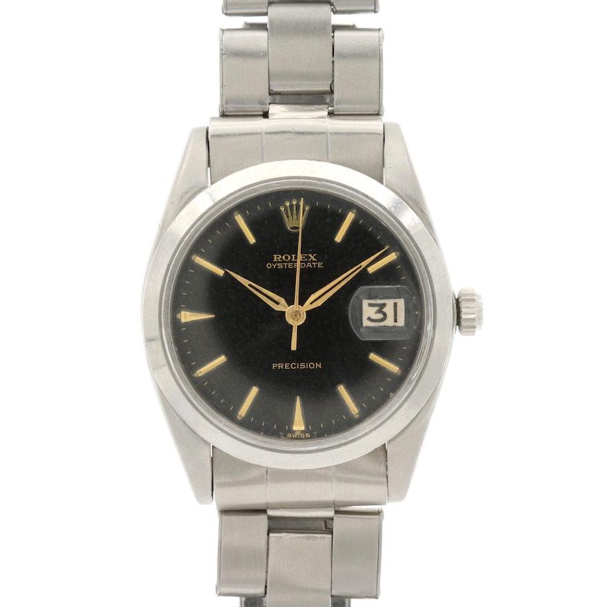 Vintage Rolex Oyster Date Precision Stainless Steel Stem Wind Wristwatch, 1964