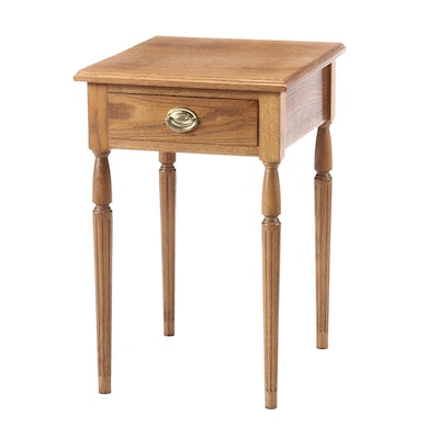 Hand-Made Sheraton Style Oak One-Drawer Table