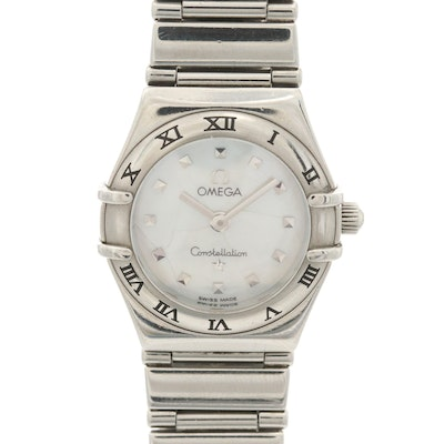 Omega Constellation Stainless Steel Wristwatch With Mother of Pearl Dial