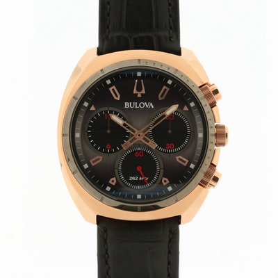 Bulova Curv Rose Gold Tone Quartz Chronograph Wristwatch