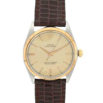 Vintage Rolex Oyster Perpetual 14K Gold and Stainless Steel Automatic Wristwatch