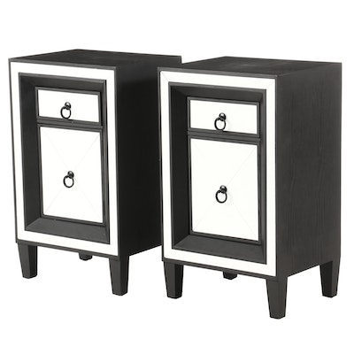 Pair of Ebonized Wood and Glass-Mounted Nightstands