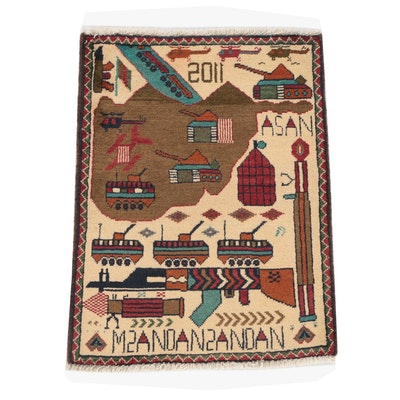 Hand-Knotted Afghan Wool War Rug, 2011