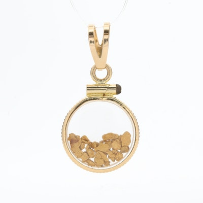 14K Yellow Gold Pendant with 18K Gold Nuggets