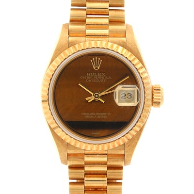 Rolex Datejust 18K Gold Automatic Wristwatch with Tiger's Eye Dial, Circa 1990