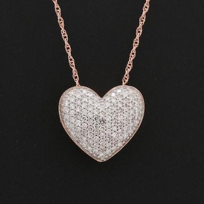 14K Rose Gold Diamond Heart Pendant Necklace